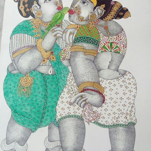 Women in Conversation by Narahari Bhawandla, Expressionism Painting, Acrylic on Paper, Gray color