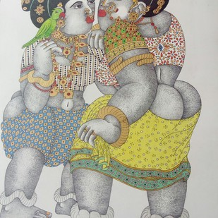 Painting 2 by Narahari Bhawandla, Expressionism Painting, Acrylic on Paper, Gray color