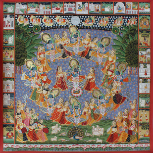 maha Rash by Unknown Artist, Folk Painting, Stone Colour on Cloth, Brown color