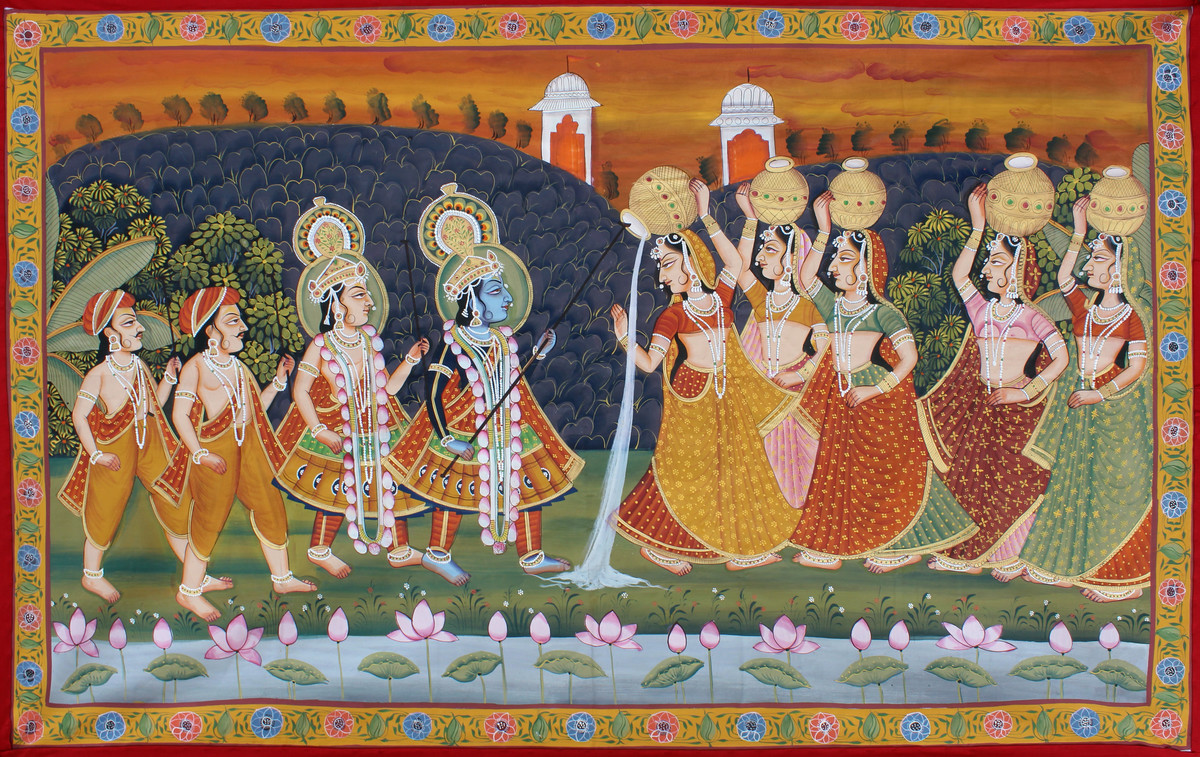 Daan Leela by Unknown Artist, Folk Painting, Stone Colour on Cloth, Brown color