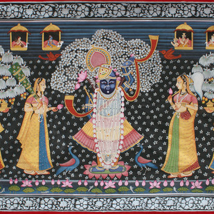 Vrikshachari by Unknown Artist, Folk Painting, Stone Colour on Cloth, Brown color