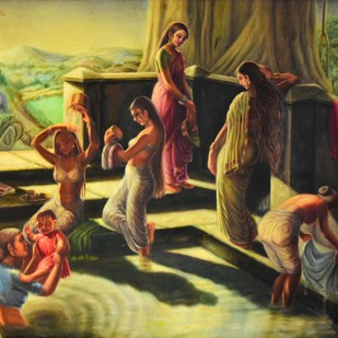 BATHING GHAT -1 by R Sukumaran, Traditional Painting, Oil on Canvas, Brown color