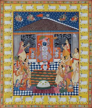 Raj Bhog by Unknown Artist, Folk Painting, Stone Colour on Cloth, Beige color