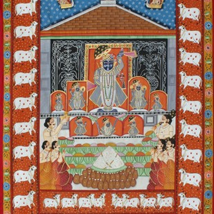 Raj Bhog by Unknown Artist, Folk Painting, Stone Colour on Cloth, Brown color