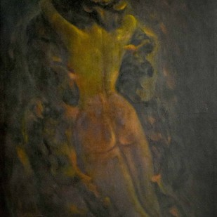 VILAYAM (MERGING) by R Sukumaran, Expressionism Painting, Oil on Canvas, Brown color