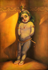 PINAKKAM ( Sulkiness) by R Sukumaran, Expressionism Painting, Oil on Canvas, Brown color