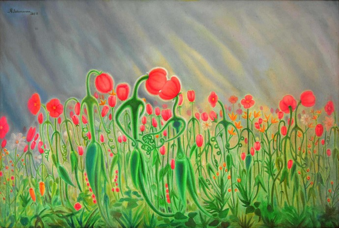 FLORAL LOVE by R Sukumaran, Expressionism Painting, Oil on Canvas, Green color