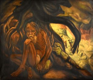 ROOTS by R Sukumaran, Expressionism Painting, Oil on Canvas, Brown color