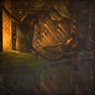 THE RAYS OF DEATH by R Sukumaran, Expressionism Painting, Oil on Canvas, Brown color