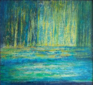 untitled by P. Saraswati, Abstract Painting, Acrylic & Ink on Canvas, Green color