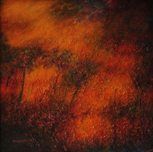 textured orange landscape by P. Saraswati, Abstract Painting, Acrylic on Canvas, Brown color