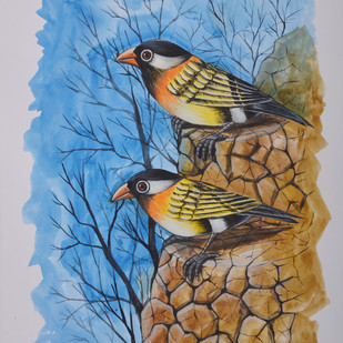 Birds Painting 55 by santosh patil, Impressionism Painting, Watercolor on Paper, Brown color
