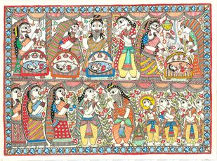 An Epic Of Thousand Lines... Madhubani's Ramayana by Unknown Artist, Painting, Acrylic & Ink on Paper, Beige color