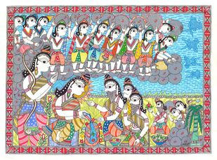 An Epic Of Thousand Lines... Madhubani's Ramayana by Unknown Artist, Folk Painting, Acrylic & Ink on Paper, Pink color