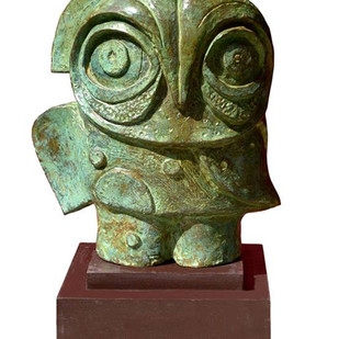 owl 06 by Atish Mukherjee, Art Deco Sculpture | 3D, Bronze, White color