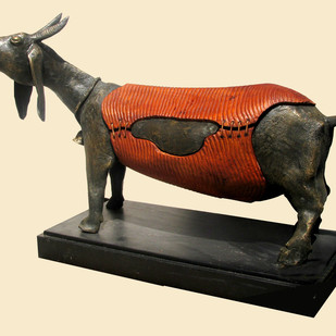 GOAT by Subrata Paul, Art Deco Sculpture | 3D, Wood & Brass, Beige color