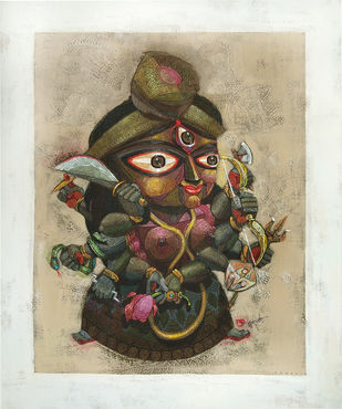 PADMA by Tamojit Bhattacharya, Expressionism Painting, Acrylic on Canvas, Beige color