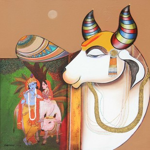 Kamdhenu by Ashok Rathod, Decorative Painting, Acrylic on Canvas, Brown color