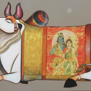 Nandishwara by Ashok Rathod, Decorative Painting, Acrylic on Canvas, Brown color