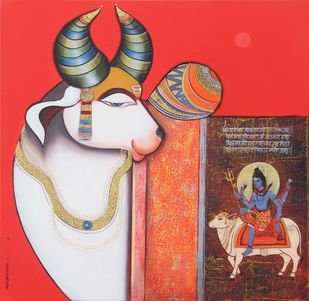 Nandishwara 2 by Ashok Rathod, Decorative Painting, Acrylic on Canvas, Brown color