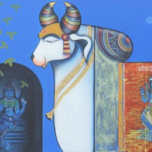 Nandishwara 3 by Ashok Rathod, Decorative Painting, Acrylic on Canvas, Blue color