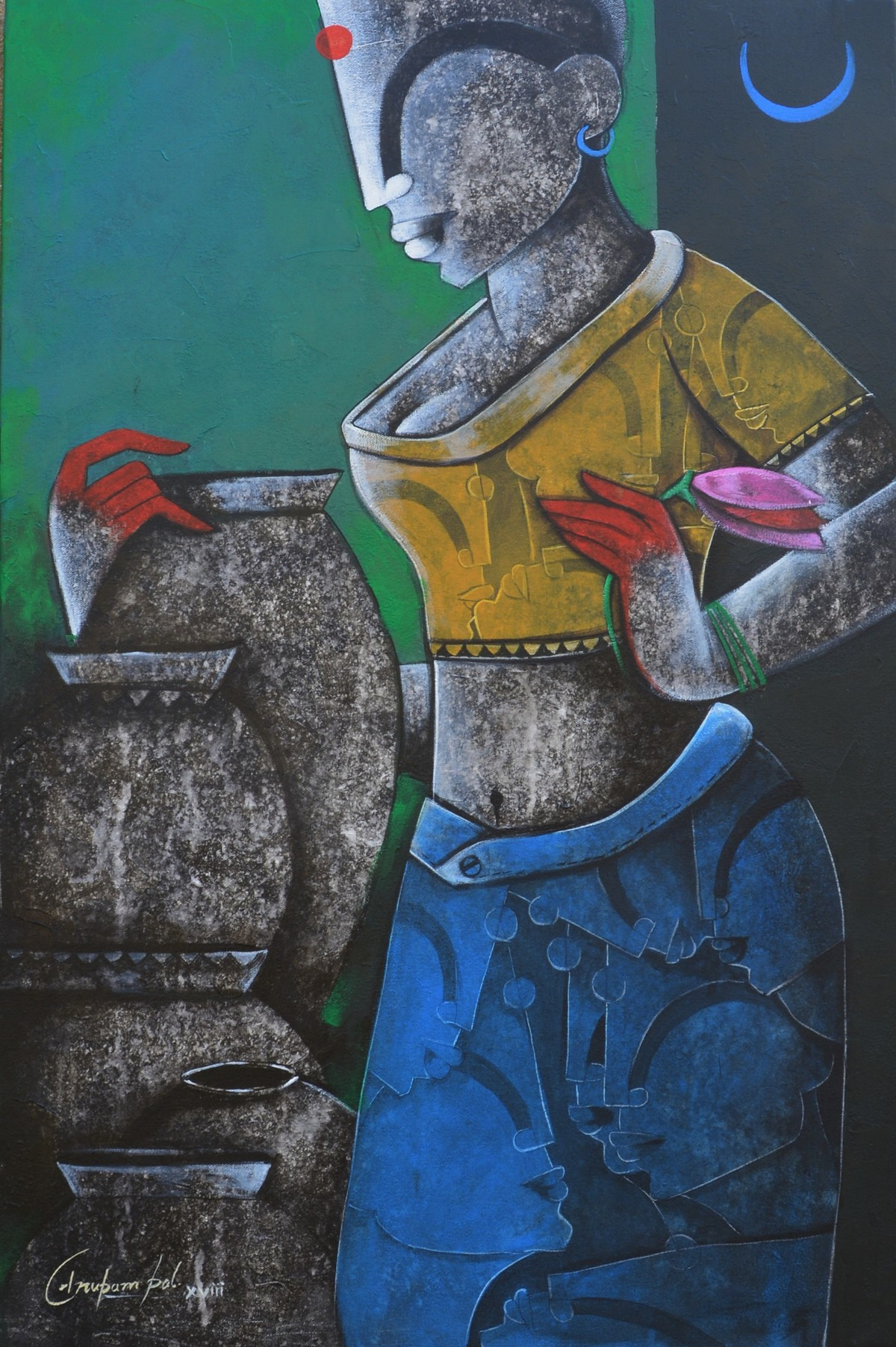 Lady with pot by anupam pal, Decorative Painting, Acrylic on Canvas, Gray color
