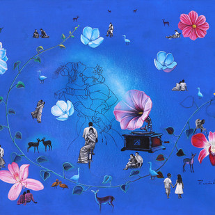 dream world by rawindra kumar das, Fantasy Painting, Acrylic on Canvas, Blue color