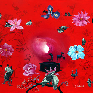dream world by rawindra kumar das, Fantasy Painting, Acrylic on Canvas, Red color