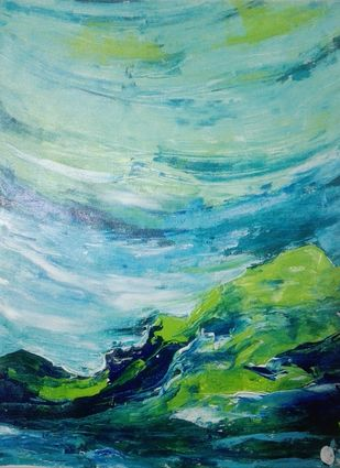 Skies by Broti Ganguly, Abstract Painting, Acrylic on Canvas, Cyan color
