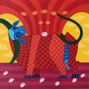 untitled by Thota Laxminarayana, Decorative Painting, Acrylic on Canvas, Red color