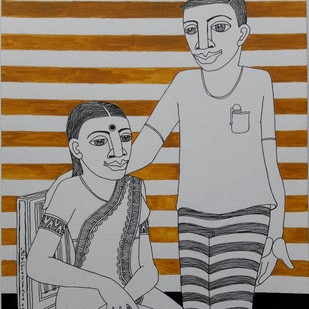 untitled by Thota Laxminarayana, Expressionism Drawing, Acrylic & Ink on Paper, Gray color