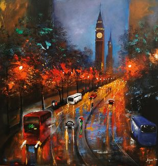 Rainy day in london # 2 by Arjun das, Expressionism Painting, Acrylic on Canvas, Brown color