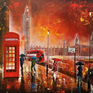 Rainy day in london # 3 by Arjun das, Expressionism Painting, Acrylic on Canvas, Brown color