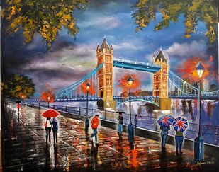 Rainy day in london # 4 by Arjun das, Expressionism Painting, Acrylic on Canvas, Brown color