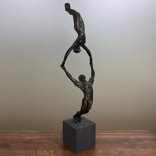 Gymnasts by Vernika , Art Deco Sculpture | 3D, Metal, Brown color