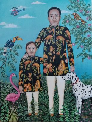 Precious Bonding by Nayanaa Kanodia, Naive Painting, Oil on Canvas, Green color
