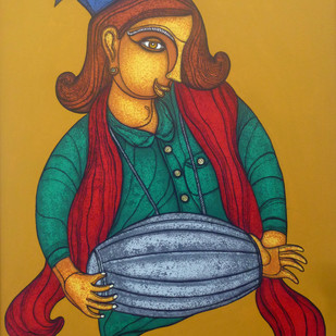 Musician by A.R. Mahajan, Expressionism Painting, Acrylic on Canvas, Brown color