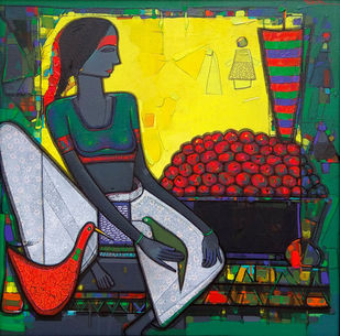 Untitled by Girish Adannavar, Expressionism Painting, Oil on Canvas, Green color