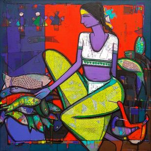 Untitled by Girish Adannavar, Expressionism Painting, Oil on Canvas, Blue color
