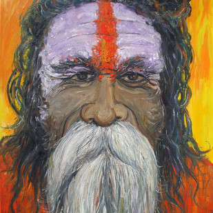 ऋषि-मुनि (Sadhu) III by Animesh Roy, Expressionism Painting, Oil on Linen, Brown color