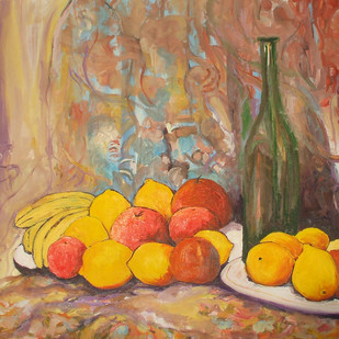 Still Life with Plates of Fruits and Green Bottle by Animesh Roy, Expressionism Painting, Oil on Linen, Brown color