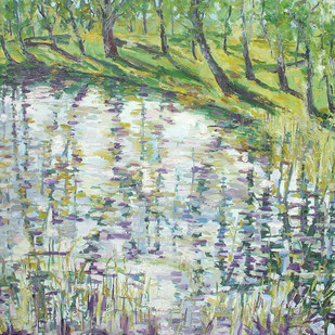 Little Pond, next to River Warta by Animesh Roy, Expressionism Painting, Oil on Linen, Beige color