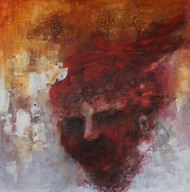 Midway by Sujith Nambiar, Abstract Painting, Acrylic on Canvas, Brown color