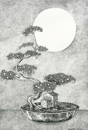 Bonsai Home by Ninoshka Nadia Dias, Illustration Drawing, Permanent Ink on Paper, Gray color