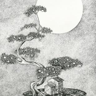 Bonsai Home by Ninoshka Nadia Dias, Illustration Drawing, Permanent Ink on Paper, Gray color