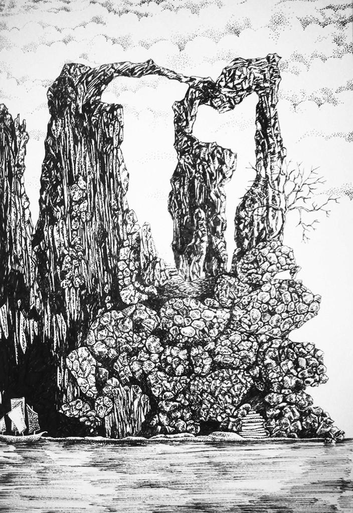 Rocky Getaway by Ninoshka Nadia Dias, Illustration Drawing, Permanent Ink on Paper, Gray color