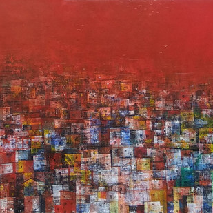 Distance view of a City by M Singh, Abstract Painting, Acrylic on Canvas, Brown color