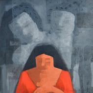 Droupadi - Ekal Sekal by Rupatan Naskar, Expressionism Painting, Acrylic on Canvas, Green color