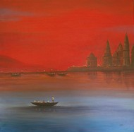 Seascape -32 by Atul Virkar, Impressionism Painting, Acrylic on Canvas, Red color