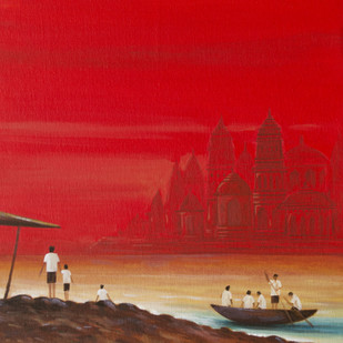 Seascape-29 by Atul Virkar, Impressionism Painting, Acrylic on Canvas, Red color